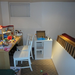 Kids\' Area in Basement – before