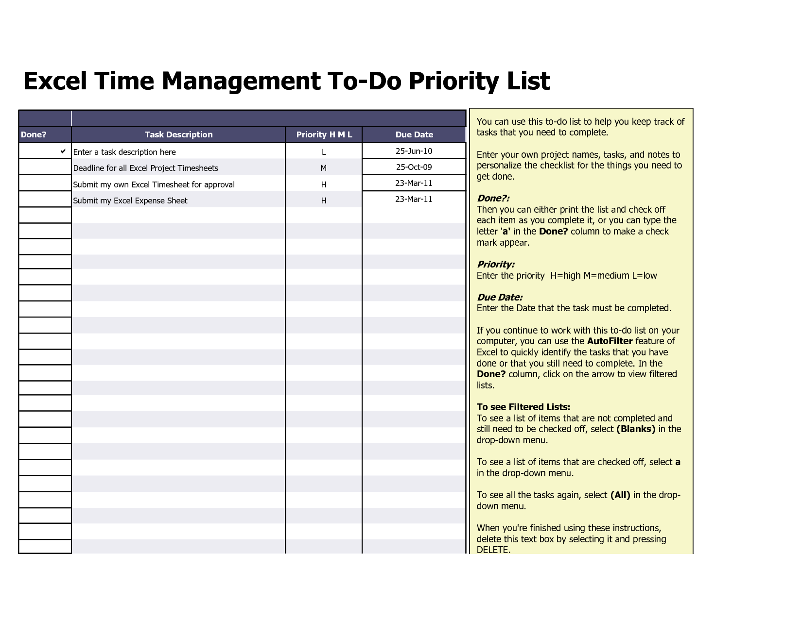 Sample Task List